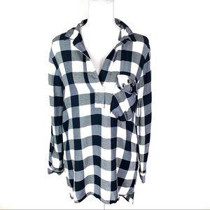 Zara Black & White Long Sleeve Tunic Small